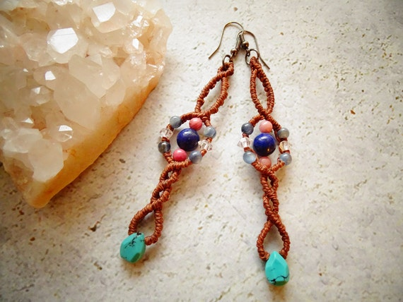 Lapis Lazuli, Blue Kyanite,Herkimer Diamond,Rhodonite & Turquoise Macrame Earrings,Bohemian,Hippie,Gypsy,Tribal,マクラメ,ボヘミアン,ヒッピー,ジプシー,天然石