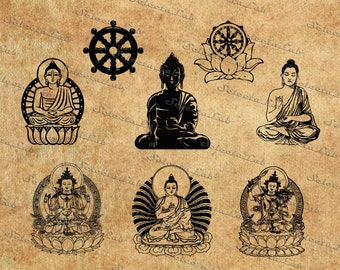 Digital SVG PNG, buddhism, buddha, buddha thai, religion, clipart, vector, silhouette, instant download