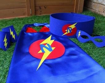 Superhero Costume, superhero belt, personalized gift, superhero birthday costume, Halloween costume, superhero cape set, boys superhero cape