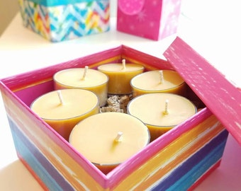 Very Vanilla Scented Tea Light Candles - All Natural Soy Wax (Set of 6) - 5 Hour Burn