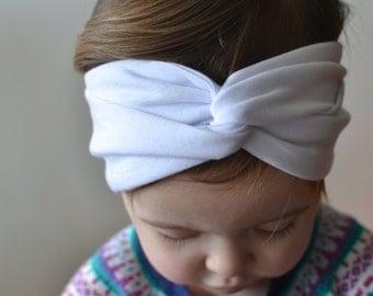 Baby Turban Headband White, Twist Headband, Adult Turban Headband, Baby Headband, Girl's Turban Headband, Baby Headwrap, Twist Turban