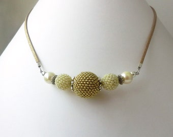 Gold Light Beige Pearl Beaded Bead Necklace, Gold and Silver Mix Color Necklace, 3 Beaded Bead and Faux Pearl Elegant Necklace