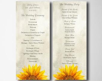 Rustic wedding program templates Sunflower wedding Downloadable program Printable wedding ceremony programs Country wedding program diy 1W26