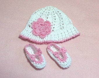 Baby sun hat & shoes. Hand crochet. Pure cotton. Handmade. Baby girl. Baby gift. New baby. Baby hat. Baby shoes. Christening. 0 to 3 months.