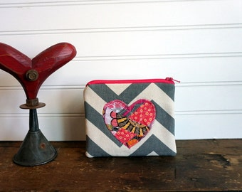 Zipper Bag - Small Coin Purse, Credit Card or Gift Card Holder, Grey Chevron and Pink Collage Heart