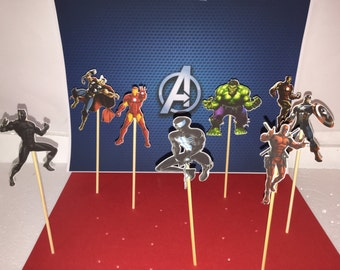 Avengers cupcake topper, party solution decoration, theme cupcake, birthday cupcake toppers, Avengers inspired