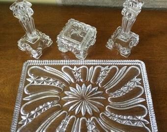 Vintage Glass Dressing Table Set, Art Deco Clear Glass, Vintage Bathroom/Bedroom Decor, Glass Tray, Candlesticks and Trinket Box. Damaged