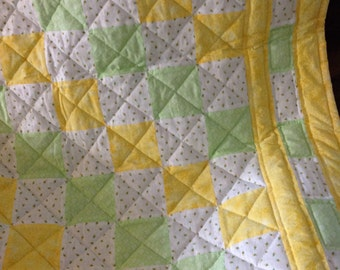 Baby Quilt, Baby Shower Gift, Baby Girls, Hand Quilted Baby Quilt