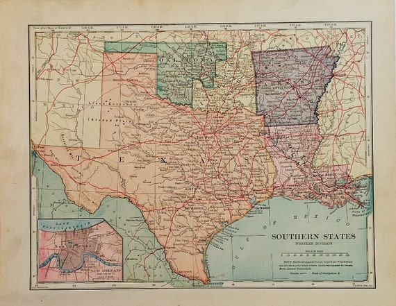 Southern States Map Antique Map Of Arkansas Louisiana
