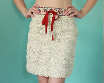 Anna Sui for Anthropoligie Embroidered Lace Skirt