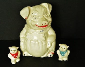 Pig Cookie Jar With Pig Salt and Pepper Shakers