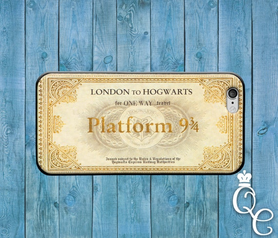 iPhone 4 4s 5 5s 5c SE 6 6s 7 Plus + iPod Touch 4th 5th 6th Gen Cute London to Hogwarts Train Ticket Custom Phone Case Cool Book Fun Cover