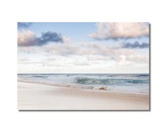 Ocean Beach Framed Art, Pastel Blue Ocean Art, Pastel Clouds, Nautical Print, Beige Blue Decor art, Pastel decor wall, Sea landscape print,