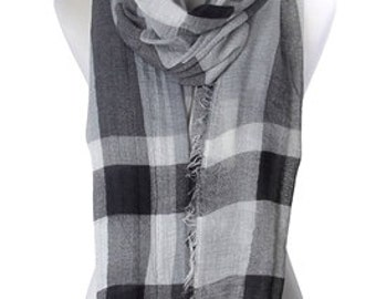 Stripe And Check Print Frayed Scarf.