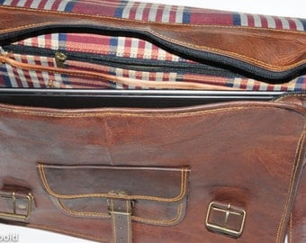 "Heathbold Lancastrian. Monogram or personalization options. Brown leather messenger laptop satchel bag. XL for 15"" laptop"