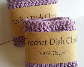 Crochet Dish Cloth, Crochet Dishcloth, Lavender Dish Cloth, Crochet Wash Cloth, 100% Cotton, Set of 2