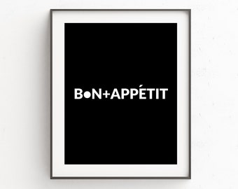 Kitchen Wall Poster, Kitchen Wall Picture, Bon Appetit, French Poster, Kitchen Art, Kitchen Wall Decor, Instant Download, Printable