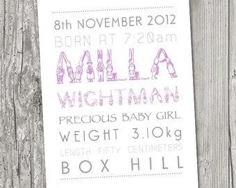 Baby Name and Birth Details PRINT Bunnies
