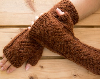 Wool russet amwarmers, alpaca fingerless gloves, alpaca armwarmers, long wool fingerless gloves, gift for her