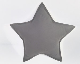 Gray Star Pillow, Star Cushion, Decorative Star, Nursery Decor, Baby Pillow, Kids Room Decor