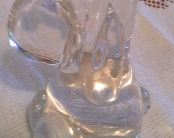 Clear glass hound dog paperweight