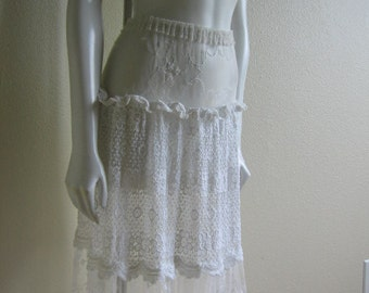 vintage 80s white lace sheer skirt- Siam Originals long lace skirt small