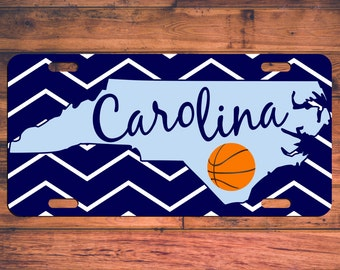 UNC Tarheels Basketball Custom License Plate North Carolina NC Custom Car Tag Customized Personalized Gifts - Customize your own!