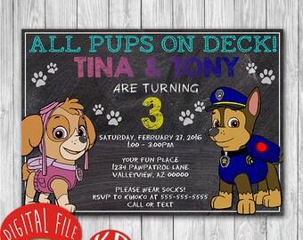 Paw Patrol twins Invitation - birthday party favor decor - 4x6 or 5x7 inches - chalkboard style - twins siblings boy / girl - #5