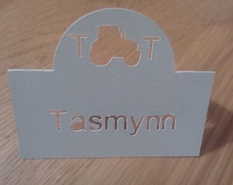 Handmade personalised tractor place cards - pack of 20