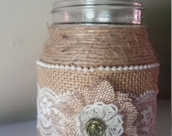 burlap mason jar,burlap and lace mason jar, rustic wedding jar,burlap wedding centerpiece,
