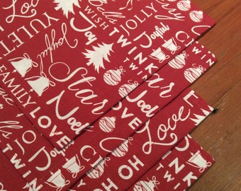 Placemats Christmas Subtle Red &White  On Trend Festive Text,Quality 50cm x 30cm