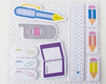 stationary sticky notes, pencil shape, stationery shaped, post its, page flags, cute sticky notes, kawaii stationary,