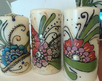 Henna design.henna inspiration. Candles  henna design
