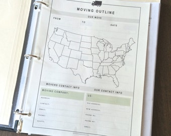MOVING KIT PRINTABLES - 12 Page Kit - Instant Download!
