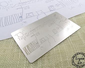 Real Handwriting Personalized Custom Steel Wallet Insert Card Custom My Handwritten Autograph, Signuature, Your Kids Doodle