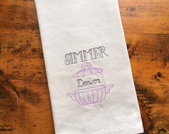 kitchen tea towel - SIMMER DOWN - housewarming gift funny christmas secret santa idea country decor bridal shower wedding birthday