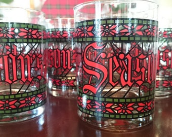 8 Vintage Cera Houze Stained Glass Christmas Glasses/ Lowball Glasses/ Season's Greetings