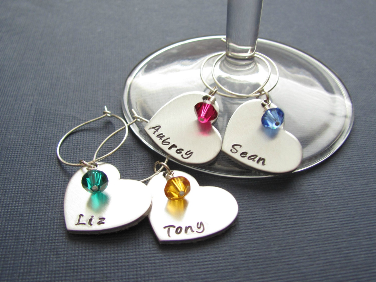 wine charms personalized with name sted