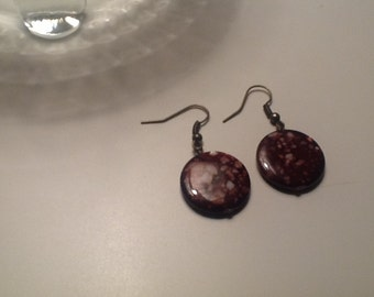 Round & Brown Dangle Earrings