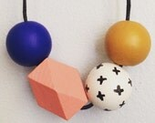 grab bag wooden bead necklace - multicolored & geometric
