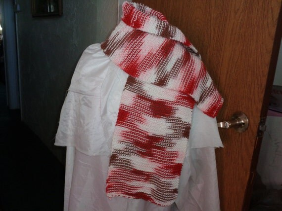 scarf--chocolate/candy cane knit scarf