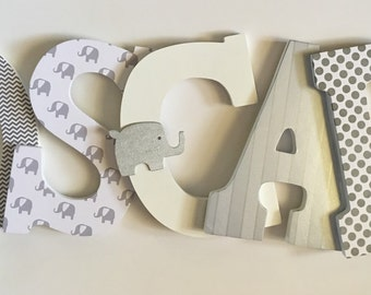 letters for nursery grey nursery decor elephant themed nursery personalized wall art