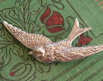 Bird Brooch, Antiqued Silver Swallow or Sparrow brooch or Pin