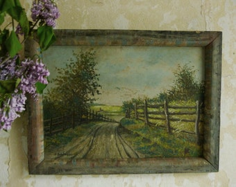 Antique oil painting Summer landscape on board....CHARMANT!