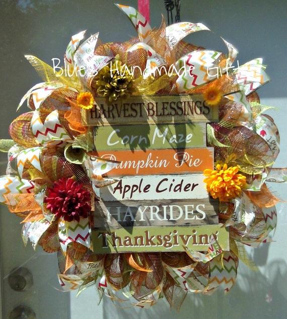 Sale Fall Wreath Autumn Wreath Thanksgiving Decor Seasonal