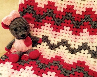 baby chevron blanket with matching bear