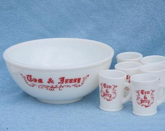 Tom and Jerry Punch Bowl and Cups