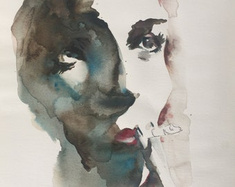 "Portrait IV ORIGINAL WATERCOLOUR painting 11.5 "" x 16"""