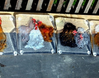 Set of four coasters.Hand Made kiln fired art glass.Hens.bantams