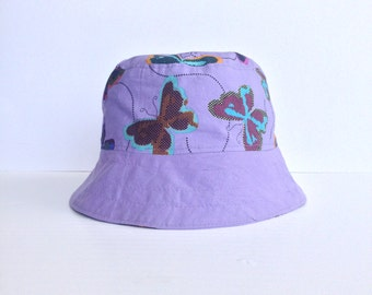 Girls mauve reversible bucket hat, girls butterfly bucket hat, girls butterfly sunhat, girls reversible sunhat, girls hat